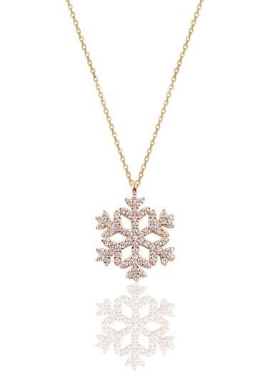 Söğütlü Silver Gümüş Rose Gümüş Kar Tanesi Kolye Pembe